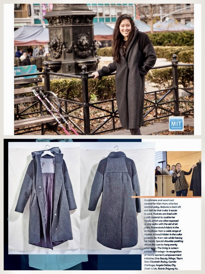 Xian was one of the three people designed for by Parson's Open Style Lab in its inaugural semester. Above is the Xian Coat, a rain-proof coat with customized accessibility features informed by Xian's experience and input.